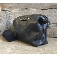 Distressed Black Leather Personalised Toiletry Bag
