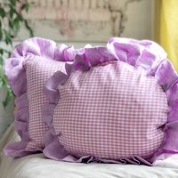 Lilac Frilly Cushion Frilled Gingham And Linen Pillow