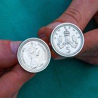 50th Birthday 1971 Five Pence 5p Coin Cufflinks