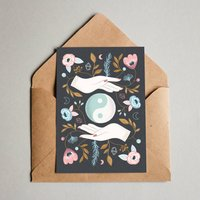Balance Floral Harmony Moon Greeting Card
