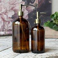 Amber Glass Bottle With Brass Pump 480ml