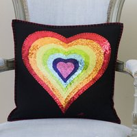 Sequin Rainbow Heart Cushion