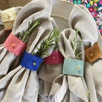Colourful Suede Napkin Ring Set Of Six