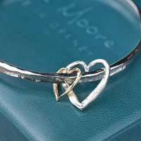 Silver And Gold Textured Double Heart Bangle, Silver
