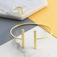 Gold Adjustable Bar Ring And Bangle Jewellery Set, Gold