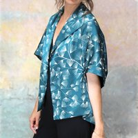 Cocktail Kimono In Teal Mountain Pine Print Crepe