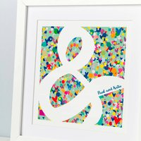 Couple's Gift Ampersand Print, Teal/White/Red