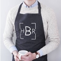 Personalised Monogram Apron, Blue/Denim/Black