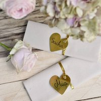 Gold/Silver Heart Place Cards/Gift Tags Pack Of 12