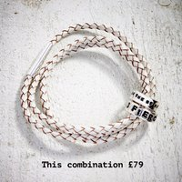 All About You Build Your Leather Bracelet Two Beads, White/Grey/Black
