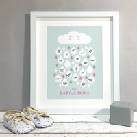 Raindrops Personalised Baby Shower Guest Book Print, Grey/Beige/Yellow