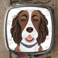 Liver And White Springer Spaniel Compact Mirror