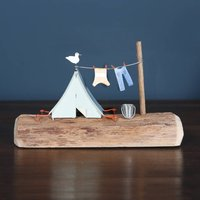 Camping Tent On Driftwood Decoration