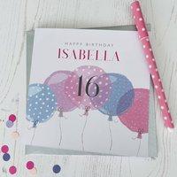 16th Birthday Balloon Personalised Card
