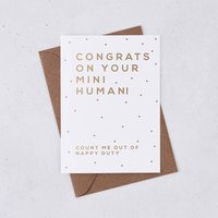 Funny New Baby 'Mini Human' Gold Foil Card