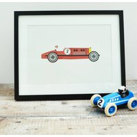 Red Racing Car A4 Print Unframed