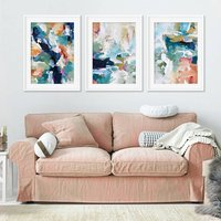 Colourful Abstract Art Print Set Of Three