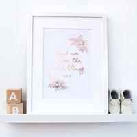 Rose Gold Wild Things Nursery Print