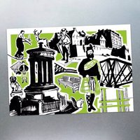 Six Features Of Edinburgh Postcards, Blue/Green/Red