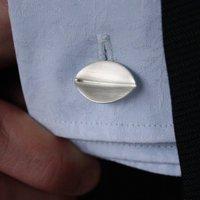 Brushed Matt Silver Leaf Cufflinks, Silver