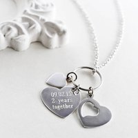 Engravable Sterling Silver Heart Cluster Necklace, Silver