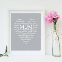 Mother Of The Bride/Groom Personalised Print, Grey/Blue/Light Pink