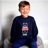Personalised Unisex Kids Bear Christmas Jumper