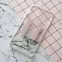 Clear And Dusty Pink Alphabet Phone Case, Pink