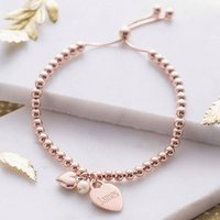 Personalised 18ct Rose Gold Ball Slider Bracelet, Gold