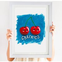 Cute Tooty Fruity Smiley Cherries Print