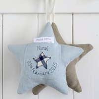 Personalised Tooth Fairy Pocket Star, Blue/Cream/Light Brown