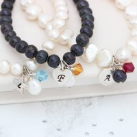 Personalised Pearl And Birthstone Crystal Bracelet