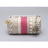 Block Print Sankari Design Pink Cotton Makeup Bag