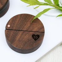 Personalised Walnut Wood And Copper Engraved Ring Box