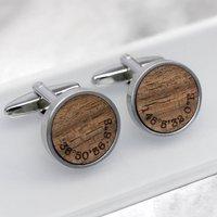 Personalised Walnut Wood Coordinate Cufflinks