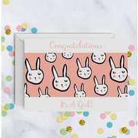 New Baby Congratulations Bunny Rabbit Card A5
