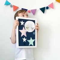 Starfall Moon Children's Nursery Print