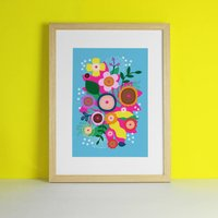 Boobs Artwork Floral Brights Art Print