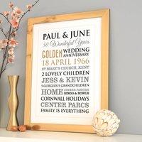 Personalised Golden Wedding Anniversary Art, Red/Black/Grey
