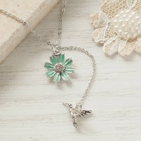 Silver Bird And Flower Necklace, Silver