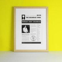 Personalised Best Grandad Newspaper Print Gift