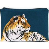 Tiger Printed Silk Zipped Bag