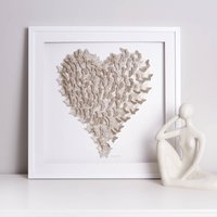Framed 3D Champagne Gold Sparkle Butterfly Heart