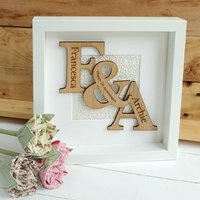 Handmade Paper Anniversary Oak Initials Artwork