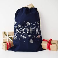 Silver And Navy Noel Christmas Sack