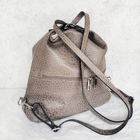Melanie Leather Handbag And Backpack Stone Grey