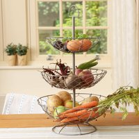 Grey Chickenwire Three Tier Fruit And Veg Store