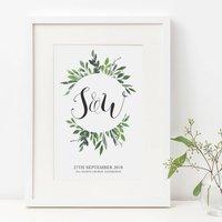Personalised Wedding Day Anniversary Initials Print