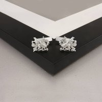 Welsh Dragon Cufflinks Sterling Silver, Chain And Bar, Silver