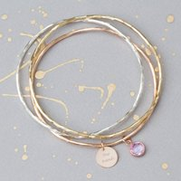 'True Friends' Message Bangle Gift Box, Silver/Rose Gold/Rose